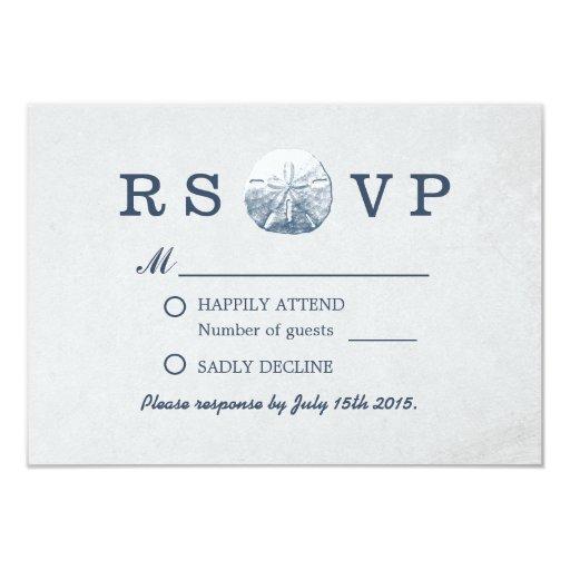 Simple Gray Sand Dollar Beach Wedding RSVP 3.5x5 Paper Invitation Card
