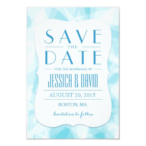 Abstract Blue Crystal Save the Date 3.5x5 Paper Invitation Card