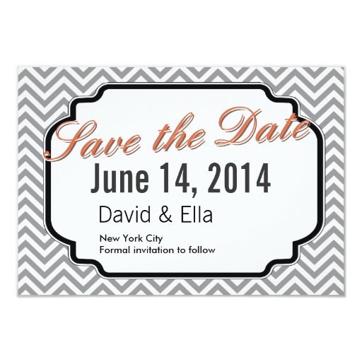 "Modern Gray Chevron Stripes Save the Date Cards 3.5"" X 5"" Invitation Card"