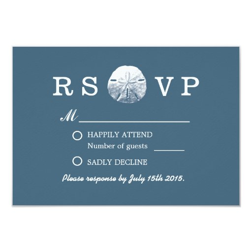 Simple Sand Dollar Navy Blue Beach Wedding RSVP 3.5x5 Paper Invitation Card