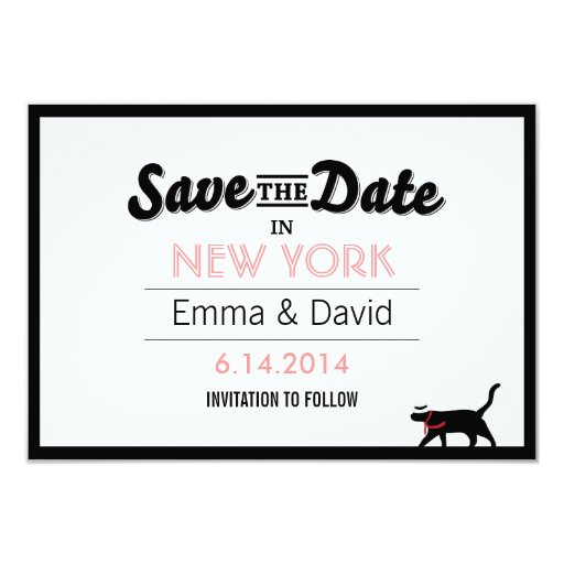 """Lucky Black Cat Bold Border Save the Date Cards 3.5"""" X 5"""" Invitation Card"""