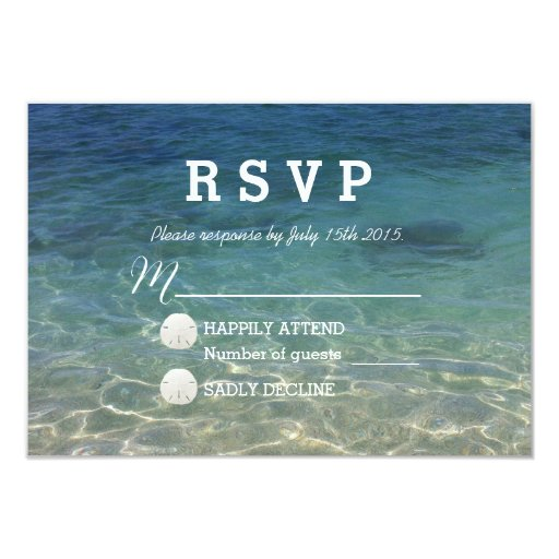 Blue Ocean Beach Destination Wedding RSVP 3.5x5 Paper Invitation Card