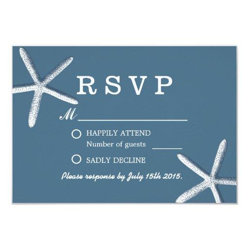 Classy Navy Blue Starfish Beach Wedding RSVP 3.5x5 Paper Invitation Card