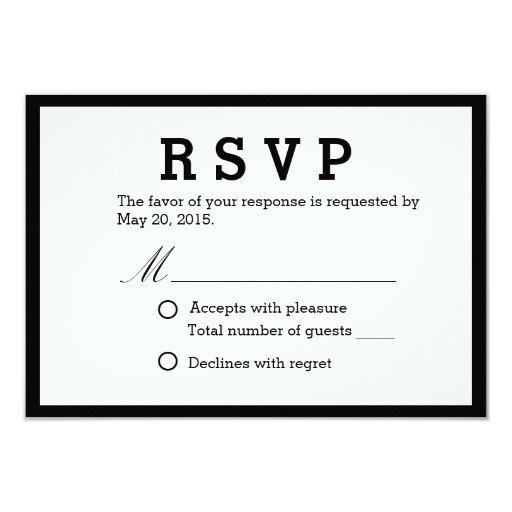 "Simple Black & White Wedding Response Cards 3.5"" X 5"" Invitation Card"