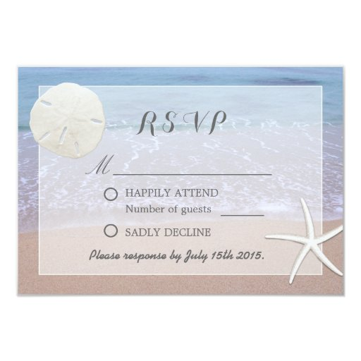 Sand Dollar & Starfish Beach Theme Wedding RSVP 3.5x5 Paper Invitation Card