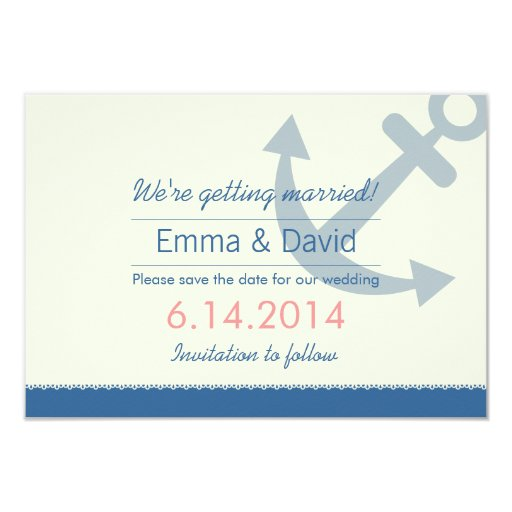 """Nautical Anchor Save the Date Announcements 3.5"""" X 5"""" Invitation Card"""