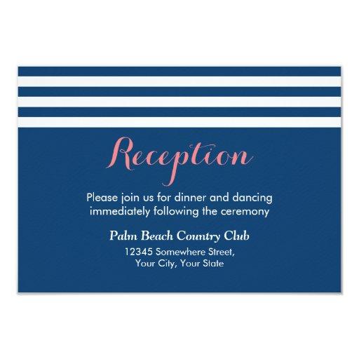 Nautical Lines Navy Blue Wedding Reception 3.5x5 Paper Invitation Card