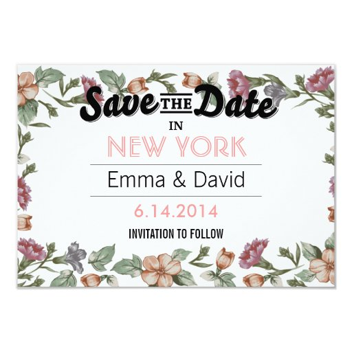 "Vintage Floral Frame Save the Date Cards 3.5"" X 5"" Invitation Card"