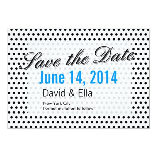 """Black & White Polka Dots Save the Date Cards 3.5"""" X 5"""" Invitation Card"""