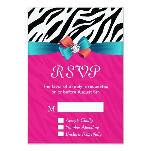 RSVP Card - Classy Hot Pink Zebra Print