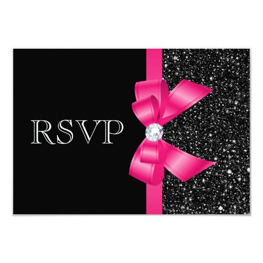 Printed Black Sequins and Hot Pink Bow RSVP 3.5x5 Paper Invitation Card