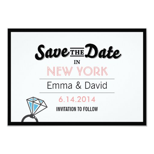 "Simple Diamond Ring Bold Border Save the Date Card 3.5"" X 5"" Invitation Car..."