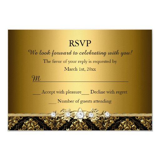 Elegant Gold & Black Damask RSVP 3.5x5 Paper Invitation Card
