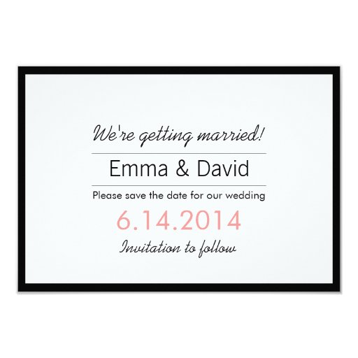 "Simple Black Border Save the Date Announcements 3.5"" X 5"" Invitation Card"