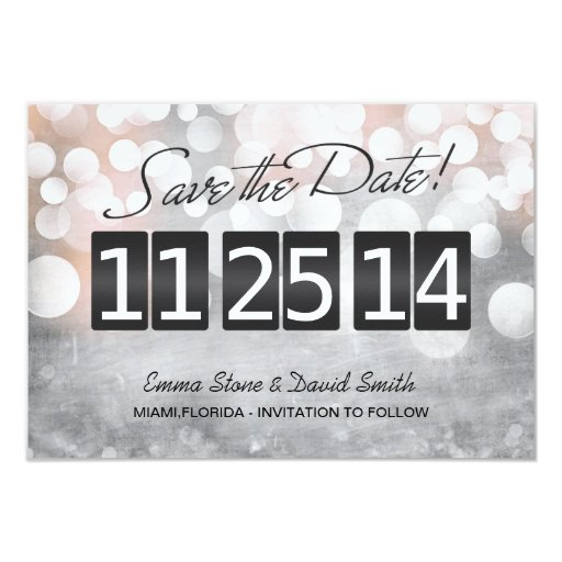 """Modern Silver Lights Save the Date Announcement 3.5"""" X 5"""" Invitation Card"""