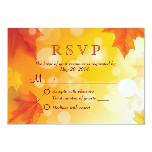 "Stylish Autumn Leaves Fall Wedding RSVP Card 3.5"" X 5"" Invitation Card"
