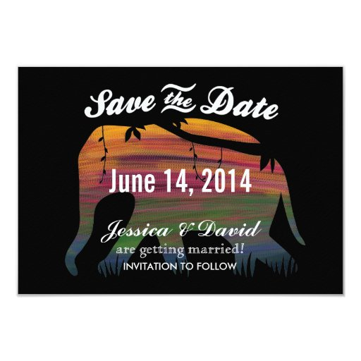"""Colorful Elephant Silhouette Save the Date Cards 3.5"""" X 5"""" Invitation Card"""