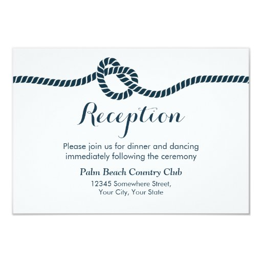 Simple & Elegant Tying the Knot Wedding Reception 3.5x5 Paper Invitation Card