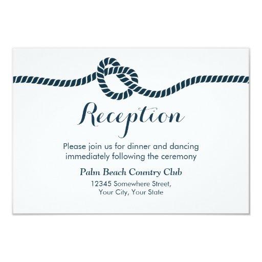 Simple & Elegant Tying the Knot Wedding Reception 3.5x5 Paper Invitation Card