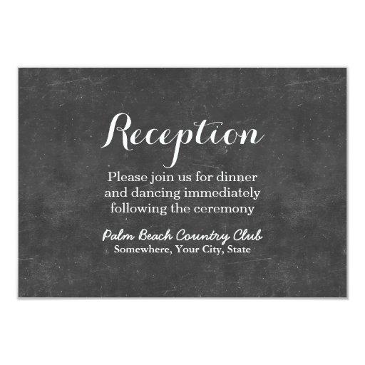 Elegant Chalkboard Wedding Reception 3.5x5 Paper Invitation Card