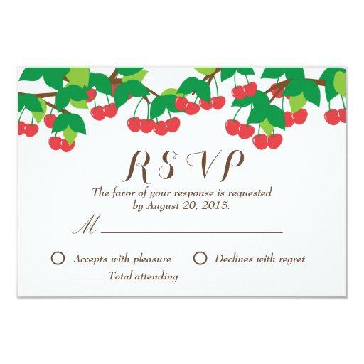 "Simple Sweet Cherries Wedding RSVP Card 3.5"" X 5"" Invitation Card"