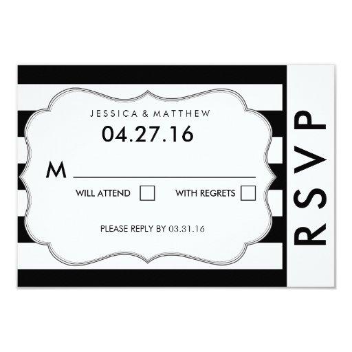 "Black and White Stripe Modern Wedding RSVP Card 3.5"" X 5"" Invitation Card"