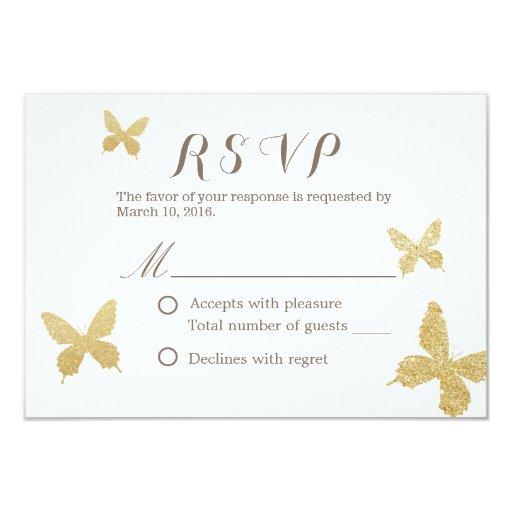 "Chic Gold Glitter Butterflies Wedding RSVP Cards 3.5"" X 5"" Invitation Card"