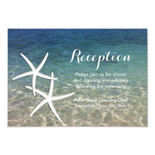 Tropical Starfish Beach Wedding Reception 3.5x5 Paper Invitation Card