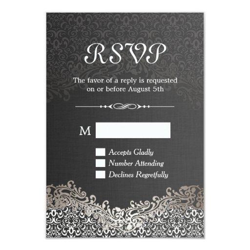 "RSVP Card - Elegant Black Silver Damask 3.5"" X 5"" Invitation Card"