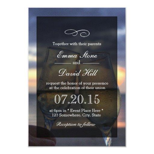 "Champagne Cheers Beach Wedding Invitations 3.5"" X 5"" Invitation Card"