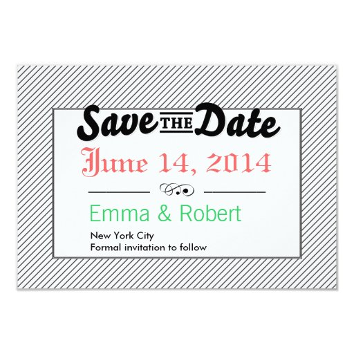 """Modern Stripes Save the Date Announcements 3.5"""" X 5"""" Invitation Card"""