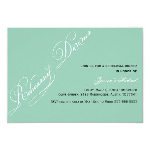 "Elegant Rehearsal Dinner Emerald Invitation 3.5"" X 5"" Invitation Card"