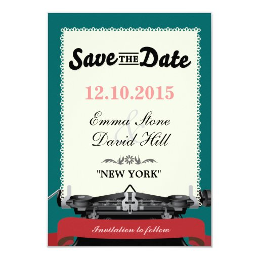 """Vintage Typewriter Green Save the Date Cards 3.5"""" X 5"""" Invitation Card"""