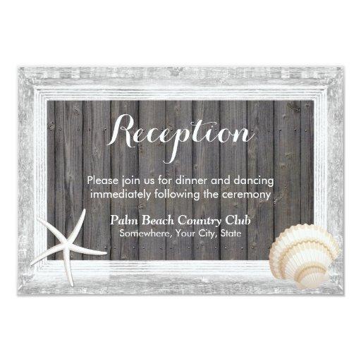 Rustic Wood Frame Seashell Beach Wedding Reception 3.5x5 Paper Invitation Card
