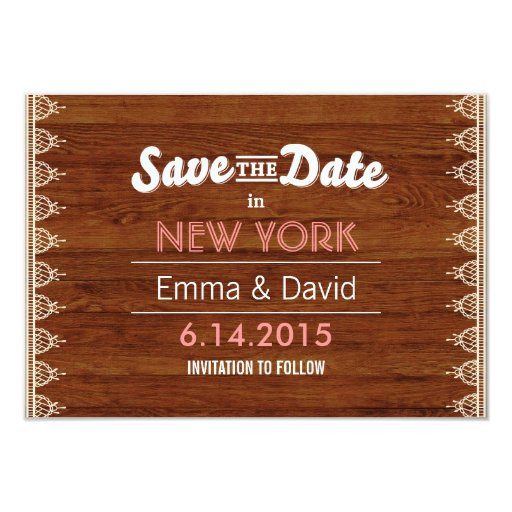 "Classy Lace & Wood Background Save the Date Cards 3.5"" X 5"" Invitation ..."