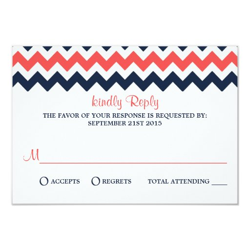 The Modern Chevron Wedding Collection Navy & Coral 3.5x5 Paper Invitation Card (front side)