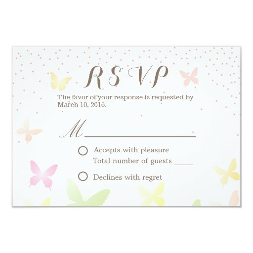 """Stylish Colorful Butterflies Wedding RSVP Cards 3.5"""" X 5"""" Invitation Card"""