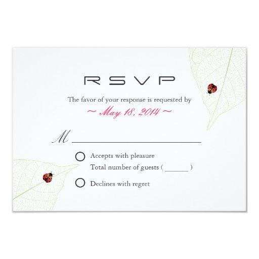 "Ladybugs & Green Leaves Wedding R.S.V.P. Card 3.5"" X 5"" Invitation Card"