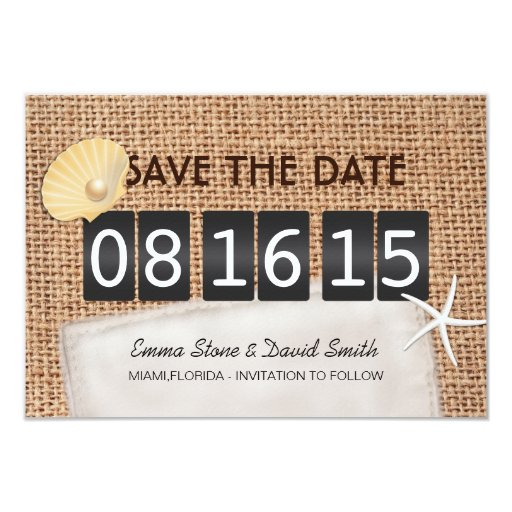 "Rustic Burlap Beach Wedding Save the Date Cards 3.5"" X 5"" Invitation Card"