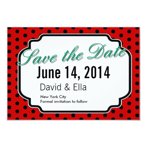 """Ladybug Black Dots Red Save the Date Cards 3.5"""" X 5"""" Invitation Card"""