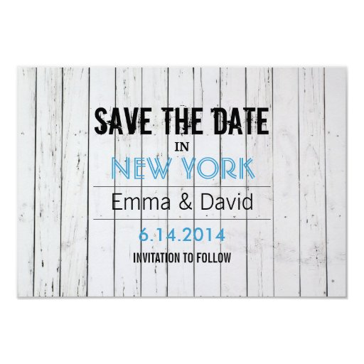 "Modern White Wood Stripes Save the Date Card 3.5"" X 5"" Invitation Card"