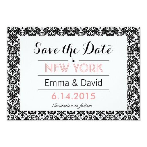 Elegant Black & White Damask Save the Date 3.5x5 Paper Invitation Card