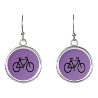 Purple Cycling Sports Abstract Drop Earrings