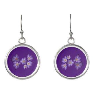 Purple Crocus Garden Flowers Drop Earrings