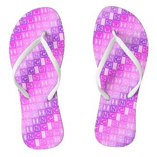 Pink purple swimming lettering pattern flip flops