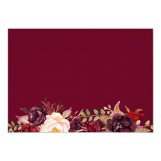 Rustic Burgundy Blush Floral Save the Date Photo Card (back side)