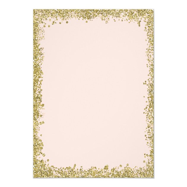 Blush Pink Gold Glitters New Year Eve Party Card (back side)