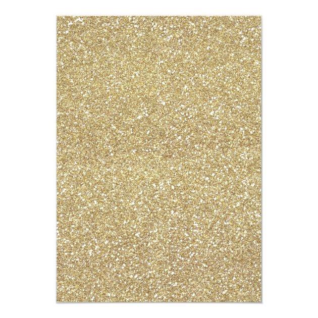 Modern Gold Glitter Sparkles Birthday Party Card (back side)