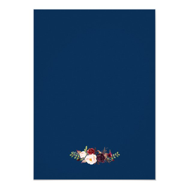 Burgundy Floral Gold Navy Surprise Birthday Party Card (back side)