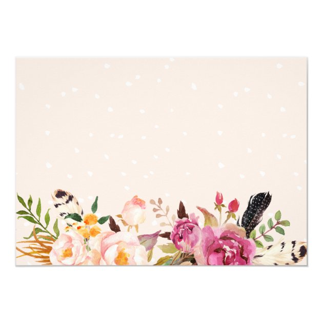 Romantic Boho Floral Feather Photo Save the Date Card (back side)